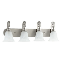 Quorum Lighting - Quorum Lighting Bryant Traditional Bathroom / Vanity Light X-46-4-4515 - From the Bryant Collection, this Quorum Lighting vanity light draws your eye using a wide backplate and classic bell shades. The faux alabaster glass diffusers work to create effortlessly elegant lighting. To complete the look, large scrolled arms and a Classic Nickel finish have been used.