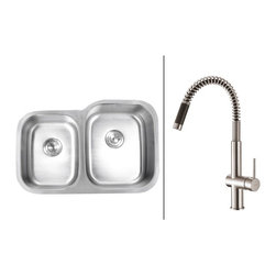 Ruvati - Ruvati RVC2519 Stainless Steel Kitchen Sink and Stainless Steel Faucet Set - Ruvati sink and faucet combos are designed with you in mind. We have packaged one of our premium 16 gauge stainless steel sinks with one of our luxury faucets to give you the perfect combination of form and function.
