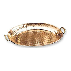Old Dutch International - Decor Tray in Copper Finish - Copper plating and brass handles. Made from stainless steel. 17.25 in. L x 11.25 in. W x 1 in. H (2.6 lbs.)