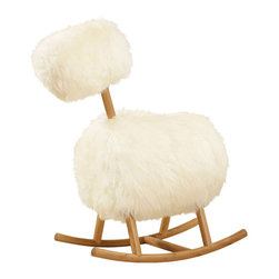 Innermost - Hi Ho Rocker - The Hi Ho Rocker features a fun yet stylish take on the traditional children's rocking horse remade for grown-ups. Available with authentic Sheepskin fur and a Natural wood finish. 18 inch width x 39 inch height x 36.6 inch depth.