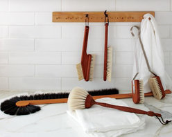 Hanging Wooden Brush Holder - After buying all of these beautiful cleaning supplies, you are going to need a way to display them prominently in your pantry or laundry room. The simplicity of this wall system is timeless and can serve any number of needs.Requires two screws for mounting (not included). Includes 15 wooden pegs. Made of solid wood with protective paraffin oil finish. Simple assembly required.
