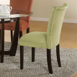 Coaster - Bloomfield Collection Parson Chair in Light Green, Set of 2 - This beautiful parson style dining side chair will be a lovely addition to your contemporary dining room. The high sleek curved chair back and plush padded seat is covered in a soft and durable microfiber fabric, available in five colors to complement your decor. Chocolate, gold ochre, terracotta, taupe, or light green upholstery sits above square tapered legs in a rich dark cappuccino finish.
