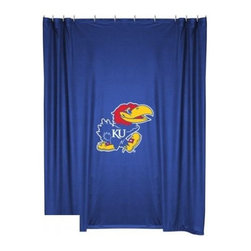 Sports Coverage - Kansas University Jayhawks Shower Curtain - This 72 x 72 officially licensed Kansas University Jayhawks shower curtain of jersey material with logo is perfect for any bathroom in need of a little extra team spirit. It weighs approximately one pound and is screen printed with Plastisol. Shower Curtain is 100% Polyester Jersey