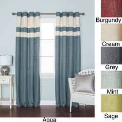 None - Striped Heavyweight Textured Faux Linen Grommet Top 84-inch Curtain Pair - These faux linen curtains come in a wide variety of colors and bring contemporary style into any room in your home. Featuring a unique textured style and wide stripes toward the top,these curtains come in aqua,burgundy,cream,gray,mint,or sage.