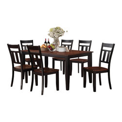 Homelegance - Homelegance Westport Dining Table in Black & Cherry - The two-tone black and cherry finish of the Westport Collection provides a timeless look to your casual dining room. Coordinating wood chairs match the black table legs that rise to support the expandable cherry finished tabletop. The Westport Collection is offered in both counter and traditional dining heights.