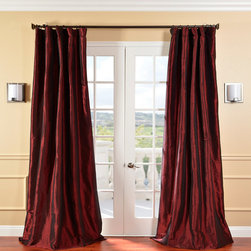 EFF - Solid Faux Silk Taffeta Syrah Curtain Panel - This faux silk curtain panel is as eco-friendly as it is fashionable. The rich merlot tone and simulated taffeta effect add richness to the design, while the two layers of lining help insulate your home to prevent unwanted energy loss.