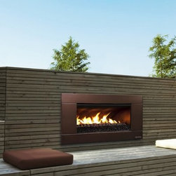 Escea Ferro Bronze Outdoor Gas Fireplace Insert - The Escea Ferro Bronze Outdoor Gas Fireplace Insert becomes the center of attention in any outdoor living space. Made to enhance any gathering, this beautiful fireplace insert provides a modern touch to your décor. Its sleek design showcases a striking rock fuel bed with options to match your taste. Warm up your surroundings with up to 56,000 BTUs of heat. It's easy to install as it requires not venting and can be installed straight into any timber framed external construction, suitable wall, or masonry cavity. Use liquid propane or natural gas for fuel. Note: Review any building restrictions or construction permit requirements before installation of an outdoor fireplace. Contact your local zoning commission/homeowners association for details. Contact a licensed contractor for installation as this product may require connection to a natural gas line. About EsceaEscea was founded in 2002 in New Zealand on the idea that the home fireplace should not only be functional but remarkably beautiful as well. Since their beginning the company has become a leader in the industry, designing, manufacturing, and distributing quality gas burners and outdoor fireplaces. Escea's success has given them a world-wide clientele and has garnered them multiple awards recognizing their talents and product designs.