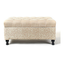 Jennifer Taylor Home - Floral Tufted Bench - Simply elegant, this luxurious bench provides extra seating while offering an effortless way to add a touch of traditional charm to personal sanctuaries.   37'' W x 20'' H x 19'' D Polyester Imported