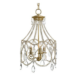 Currey and Company - Glamour Chandelier - Glamorize your interior ambience with this fabulous vintage-style chandelier. The gold leaf finish beautifully complements its sparkling crystal embellishments for an old-world centerpiece that breathes new life into your space.