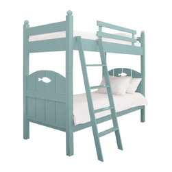 Dory Bunk Bed - Our Dory Bunk Bed doesn't just whisper cottage living, it shouts it. Inspired by weathered fences along the dunes, shadowed by beach grass waving in the ocean breeze. The fish cut-out adds the perfect finishing touch of easy livin' by the sea. Outfitting a bunk with one of our fabulous trundles increases your sleeping capacity and an additional Bed Bin or two is great for off season clothing and toys. Available in an amazing array of signature Maine Cottage® colors.