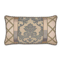 """Frontgate - Lancaster 26"""" x 15"""" Decorative Pillow - From Eastern Accents. Dry clean only recommended. Because this product is specially made to order, please allow 4-6 weeks for delivery. Silks, chenille, and hand-painted pillows are at the heart of the formal Lancaster Bedding Collection. A cream background brings pewter and gold to life in complementary stripe, scroll, and diamond frame designs to create a powerful, articulate sense of refinement and style. Luxurious trimmings used in Lancaster include a 5-1/2"""" tassel and a 7"""" fringe.  .  . . Made in the USA from imported fabrics. Part of the Lancaster Bedding Collection."""