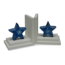 Distressed Blue Star Bookends with Distressed White Base - The Distressed Blue Star Bookends are for kids rooms and beyond. Think outside of the box and display these antique-looking star-shaped bookends on kitchen shelves with your favorite recipe books. Use them in a child's play room on a student desk or perhaps a teacher's desk. Accent an informal fireplace mantle or a hallway table anywhere there are books there is a place for these bookends. The Distressed Blue Star Bookends are made of manufactured wood and hand-painted. Manufactured in the USA these bookends are constructed using both glue and screws for a sturdy room accent in a classic design that will endure the test of time.About OneWorldKidsOneWorld was started by Jay Brandt and Pam Gold more than a decade ago. Originally unique products were imported from Indonesia but as OneWorld grew they became the manufacturer of their entire product line. Based in Salt Lake City Utah OneWorld has raised the bar in kid's decor with thousands of products designed to accessorize and complete a child's room. At OneWorldKids accessorizing is all about style color and fun.