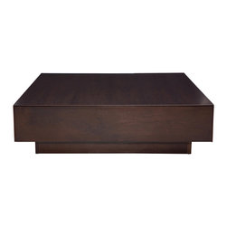Nuevo Living - Dumas Coffee Table, Dark Walnut - Nuevo Dumas Coffee Table features a low profile construction with a spacious square top and two drawers. Nuevo Dumas Coffee Table offers a perfect venue for any function.