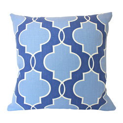 The Pillow Studio - Blue Pillow Cover with Fabric on Both Sides, Geometric Pattern - Blue pillow covers with fabric on both sides. Gorgeous geometric pattern. 20x20