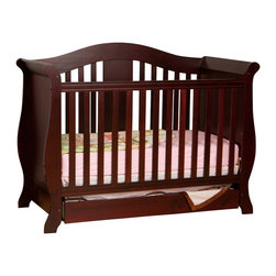 Stork Craft - Stork Craft Vittoria 3-in-1 Fixed Side Convertible Crib in Cherry - Stork Craft - Cribs - 04587224 - The Vittoria 3 in 1 Fixed Side Convertible Crib by Stork Craft offers a classic sleigh design that adds a rich sophistication to the nursery.The extra large bottom drawer allows for ample storage of your child's most precious belongings. It has a well built construction made of attractive solid wood and wood products offered in a variety of beautiful non toxic durable finishes. This crib is not only gorgeous but it is versatile; converting from a standard crib to a daybed and ultimately to a full-size bed complete with headboard and footboard (full size bed rails not included). Set-up this extravagant Vittoria Fixed Side Convertible Crib effortlessly with it's easy to follow directions and extra sturdy stationary side rails. Complete your nursery look by adding complimentary accessories by Stork Craft: a changing table chest dresser or glider and ottoman.