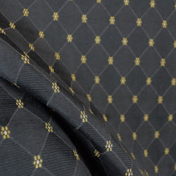 Richloom - Weston Pepper Geometric Upholstery Fabric By The Yard - Pattern Weston Pepper is a black and gold upholstery fabric. The fabric has a diamond pattern with small gold colored flowers at each point. Strong enough for upholstery but can be used for pillows, bedding, valances or a cornice board.