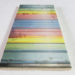Custom Photo Factory - Daltile Abstract Rainbow Grunge With Stripes Ceramic Wall Tiles, 3x6 Wall Tiles - Pack of/Case of: 20 Tiles. Samples Available for purchase. All of our tiles are printed on white ceramic Daltile; the same high quality tiles found at the hardware store. Our ceramic tiles are permanent designs. They are scratch resistant and highly resistant to chemical wear and sunlight. As a matter of fact, our tiles will never fade, even in direct sunlight, 24 hours a day. The only way to damage the print is to damage the tile itself by breaking it. For use in residential and commercial. Glazed glossy finish with a high sheen and uniform appearance in tone. Dimensions of tile: 3 inches x 6 inches or 4 inches x 4 inches (actual 4-1/4 in. x 4-1/4 in). Installation: Indoor and outdoor use on walls in your kitchen and bath and living area.