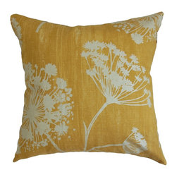 """The Pillow Collection - Garuahi Floral Pillow Butterscotch 18"""" x 18"""" - Warm and rich, this floral throw pillow is the perfect accent piece for your home. This Butterscotch-colored decor pillow comes with a gorgeous floral print pattern in white. This square pillow brings a contemporary vibe to your living room sofas and chairs. This 18"""" pillow is crafted from durable material which is 100% soft cotton fabric. This throw pillow is great for casual settings and various decor styles. Hidden zipper closure for easy cover removal.  Knife edge finish on all four sides.  Reversible pillow with the same fabric on the back side.  Spot cleaning suggested."""