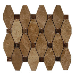 "GlassTileStore - Octave Pattern Light Emperador With Dark Emperador Dot Marble Tile - Octave Pattern Light Emperidor with Dark Emperidor Dot Marble Tile             These hand-made window patterns are made from stone mosaics, each piece fits into the next like a perfect puzzle. Its stunning design and unique pattern of squares and oblong octagons will bring warmth and a natural ambiance to your home.         Chip Size: 3 3/4"" x 2"" Dot: 3/4""x3/4""   Color: Light Emperidor and Dark Emperidor   Material: Marble   Finish: Polished   Sold by the Sheet - each sheet measures 10.25"" x 11.75"" (0.94 sq. ft.); 4 rows per sheet   Thickness: 8mm   Please note each lot will vary from the next.            - Glass Tile -"