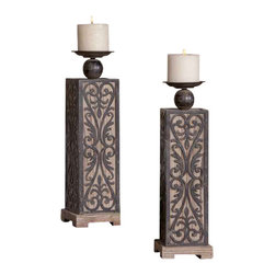 Uttermost Abelardo Wood Candleholders, S/2 - Natural fir wood with wrought iron metal details. Distressed beige candles included. Made of natural fir wood with decorative, wrought iron metal details. Distressed beige candles included.