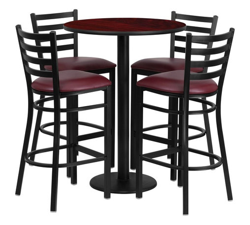 Flash Furniture - Flash Furniture Restaurant Furniture Table and Chairs X-GG-6201BRSR - 30'' Round Mahogany Laminate Table Set with 4 Ladder Back Metal Bar Stools - Burgundy Vinyl Seat [RSRB1026-GG]