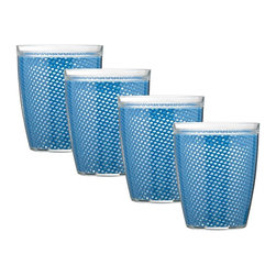 Kraftware - Kraftware Fishnet 14 oz. Doublewall Drinkware - Set of 4 - 31314 - Shop for Drinkware Sets from Hayneedle.com! Beautify your indoor or outdoor dining table with the Kraftware Fishnet 14 oz. Doublewall Drinkware - Set of 4. This set includes four glasses with authentic jute fishnet inside and a double wall of durable PVC. These glasses come in an amazing array of color options are safe on the top rack of the dishwasher plus resist fading.