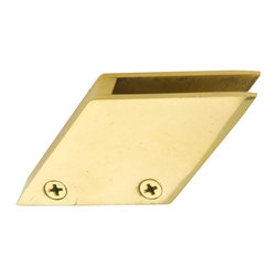 Renovators Supply - Bar Brackets Solid Brass Glass Railing Clip Holds 3/8'' glass - Glass Railing Clip. Measures 1 13/16 inch along the bottom, 1 3/8 in. H and is at a 53 degree angle. Holds standard 3/8 inch glass. Features 4 adjusting screws, two on either side. Has two open channels and two closed channels. Has one screw hole in the bottom, screw sold separately.