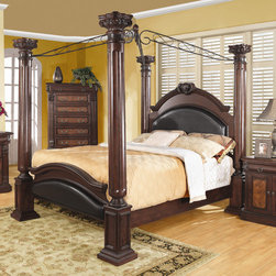 Wildon Home � - Whitewright Canopy Bed - Create an ideal sanctuary to leave the day's troubles behind you with help from this beautiful poster bed. The piece carries a warm brown cherry finish and is crafted from pine solids as well as cherry veneers. In addition, the intricate carvings and moldings add thoughtful detail while large posts and a black metal scrolled top bring extravagance to the overall look. Plus, the gently arched headboard and footboard include faux leather panel. Simply stunning, this poster bed will bring absolute elegance to your bedroom decor. This bed is available in queen, king, and California king sizes. Features: -Traditional style.-Decorative bail handles.-Smooth veneered tops with straight edges.-Upholstered headboard for a comfortable back rest.-Bed Design: Canopy.-Distressed: No.-Constructed of wood veneers and solids.-Warm brown cherry finish.-Distressed: No.Dimensions: -Assembled Weight: 164.8 lbs.-Overall Product Weight: 164.8 lbs.