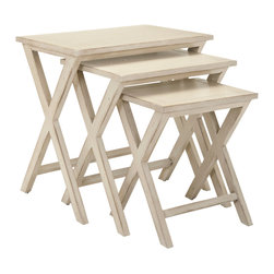 Safavieh - Safavieh Maryann Stacking Tray Tables in White Washed - So classic they'll complement any decorating theme from country to transitional, the Maryann stacking tray tables are a wonderful small space accessory. Crafted of poplar wood with white washed finish, they're perfect for parties or for snacks and drinks when the family gathers to watch TV. What's included: Stacking Tray Tables (3).