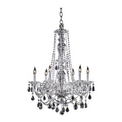 """Quorum International - Quorum International 664-6 Six Light Up Lighting Chandelier Bohemian Ma - Six Light Up Lighting Chandelier from the Bohemian Marien CollectionThe great dressed chandeliers of the late Georgian period in England, of which the Bohemian-Marien chandeliers are a superb example, were the height of luxury at the time, being both very expensive and intricate in their production. After their installation, the work involved in maintaining this means of lighting the domestic interior was laborious. Candles had to be continuously replaced, or trimmed and straightened after every lighting, and each bobeche and their adjacent spattered crystals cleared of wax, washed and polished. Only those in the higher levels of society could afford staff especially employed for this purpose. Specifically, a """"lamp and candle man"""" was hired to maintain the lighting arrangements, and a small room, the """"lamp and candle room"""" was required in the residence where all materials and equipment for this task were kept.Today, electric lighting contributes to the minimal upkeep required to maintain the dressed crystal chandeliers without compromising the sumptuous beauty of the fixtures.Features:"""