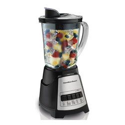 Hamilton Beach - Multi-Function Blender 700W - This Hamilton Beach Power Elite blender with 40 oz. jar has 700 Watts of peak blending power which is all the power you need to mix, puree, dice, crush ice and more using only four buttons. It features 12 blending functions, a unique, no-mess pouring spout, Wave-Action system and cord storage. Jar is Dishwasher Safe.