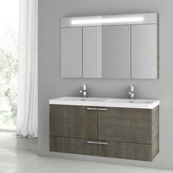 ACF - 47 Inch Grey Oak Bathroom Vanity Set - A designer bathroom vanity for your designer-quality master bath. Available in grey oak and made in engineered wood and mirrored glass and ceramic, this very high quality bath vanity is manufactured in and imported from in Italy by ACF and is part of the ACF New Space collection. Consider this rectangle wall-mount bathroom vanity. Set Includes:. Vanity Cabinet (2 Doors,1 Drawer). High-end fitted ceramic sink. Wall mounted medicine cabinet. Vanity Set Features . Vanity cabinet made of engineered wood. Cabinet features waterproof panels. Vanity cabinet in grey oak finish. Cabinet features 2 doors, 1 soft-closing drawer. Faucet not included. Perfect for modern bathrooms. Made and designed in Italy. Includes manufacturer 5 year warranty.