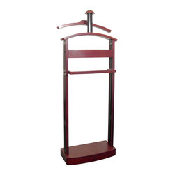 Proman Products - Proman Products Trojan Valet in Mahogany with Black Felt - Trojan valet - mahogany / black wood combo, capacity for two coats, hat, pant, ties and a 3-compartment tray with black felt solid maple wood.