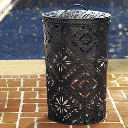 Pierced Metal Lidded Bin - Ok, totally practical, why can't your trash be gorgeous? No more guests awkwardly wandering off to find a trash can.