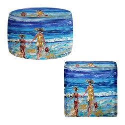 DiaNoche Designs - Ottoman Foot Stool by Karen Tarlton - Beach Babes With Bucket - Lightweight, artistic, bean bag style Ottomans.  Coming in 2 squares sizes and 1 round, you now have a unique place put rest your legs or tush after a long day!. Artist print on all sides. Dye Sublimation printing adheres the ink to the material for long life and durability. Printed top, khaki colored bottom, Machine Washable, Product may vary slightly from image.