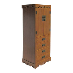Golden Lotus - Chinese Solid Elm Wood Four Drawers Dressers Storage Cabinet - This is a Chinese storage cabinet which is made of elm wood.  It has four drawers and can be used as dressers.