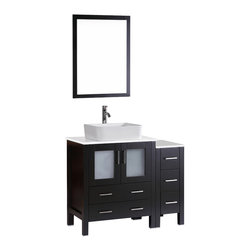 """Bosconi - 42"""" Bosconi AB130RC1S Single Vanity, Espresso - Sophistication is priority with this sleek 42"""" espresso Bosconi vanity set. The ceramic, rectangular vessel sink and vertically mounted mirror accentuate the modernistic approach to the design. Features include one center cabinet with soft closing doors and one detached side cabinet with three drawers. All spacious enough to house your essential bathroom supplies."""
