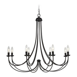 """Quoizel - Traditional Quoizel Mirren 32"""" Wide Imperial Bronze Chandelier - The clean design of this steel construction 8-light chandelier is enhanced with a deep warm Imperial Bronze finish. The sweeping arms create a slim silhouette from which the candelabra bulbs emit their soft romantic glow. Its informal transitional beauty works well with many room decor schemes. A gracious addition to your stylish home from Quoizel. Imperial bronze finish chandelier. Steel construction. Eight maximum 60 watt candelabra bulbs (not included). 32"""" wide. 28"""" high. Hang weight is 5 lbs.  Imperial bronze finish chandelier.  Steel construction.  Use this large chandelier in a foyer or dining room.  Design by Quoizel lighting.  Eight maximum 60 watt candelabra bulbs (not included).  32"""" wide.  28"""" high.  Hang weight is 7 lbs."""