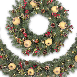 Balsam Hill Vermont White Spruce™ Holiday Decorated Wreath and Garland - A FRESH HOLIDAY DISPLAY WITH BALSAM HILL'S VERMONT WHITE SPRUCE™ HOLIDAY WREATH AND GARLAND |
