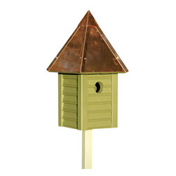 Heartwood - Gatehouse II Bird House Pinion Green with Copper Roof - This  beautiful  birdhouse  is  the  perfect  addition  to  any  home  or  garden  of  your  choice.  With  beaded  edge  drop  siding  in  select  cypress  milled  to  scale,  this  is  sure  to  wow  any  visitors  or  company.  A  full  copper  roof  crowns  this  glory,  while  the  copper  clean-out  door,  excellent  ventilation  and  drainage  make  for  long-lasting  delight  and  convenience.This  bird  house  is  one  you  are  sure  to  enjoy  in  the  years  to  come.                  7x7x15              1-3/8  hole              Handcrafted  in  USA  from  renewable,  FSC  certified  wood