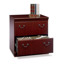 Bush - Bush Birmingham Executive 2-Drawer Lateral Wood File Cabinet in Harvest Cherry - Bush - Filing Cabinets - EX2667103 - The Birmingham Executive Lateral File Storage Cabinet's height matches the executive desk height to create an impressively extended work area. This luxurious, classic-styled filing cabinet showcases modern features such as anti-tip safety construction and smooth drawer glides.