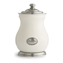 Arte Italica - Tuscan Zucchero Canister - Give someone a little sugar Italian style. You can store and serve directly from this substantial canister, made by hand in Italy of ceramic and pewter. As with all handcrafted items, each piece is unique and subtle variations in color and size are to be expected and celebrated.