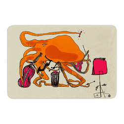 """KESS InHouse - Marianna Tankelevich """"Playful Octopus"""" Memory Foam Bath Mat (17"""" x 24"""") - These super absorbent bath mats will add comfort and style to your bathroom. These memory foam mats will feel like you are in a spa every time you step out of the shower. Available in two sizes, 17"""" x 24"""" and 24"""" x 36"""", with a .5"""" thickness and non skid backing, these will fit every style of bathroom. Add comfort like never before in front of your vanity, sink, bathtub, shower or even laundry room. Machine wash cold, gentle cycle, tumble dry low or lay flat to dry. Printed on single side."""