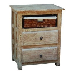 YOSEMITE HOME DECOR - 1-Drawer 2-Block Bedside Table - A great accent table for any space in the home. This cabinet features a washed sandstone finish w/metal hardware accents.  A two drawer front complete with a hand woven linen lined basket allows for ample storage space. Fits great into a living room, bedroom, sunroom or any other space in your home.  Made in India of solid mango wood for many years of service. Assembled and made in India.    Item Dimension in 24inches Width X 16inches Depth X 30inches Height