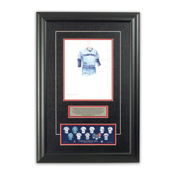 """Heritage Sports Art - Original art of the MLB 1978 Toronto Blue Jays uniform - This beautifully framed piece features an original piece of watercolor artwork glass-framed in an attractive two inch wide black resin frame with a double mat. The outer dimensions of the framed piece are approximately 17"""" wide x 24.5"""" high, although the exact size will vary according to the size of the original piece of art. At the core of the framed piece is the actual piece of original artwork as painted by the artist on textured 100% rag, water-marked watercolor paper. In many cases the original artwork has handwritten notes in pencil from the artist. Simply put, this is beautiful, one-of-a-kind artwork. The outer mat is a rich textured black acid-free mat with a decorative inset white v-groove, while the inner mat is a complimentary colored acid-free mat reflecting one of the team's primary colors. The image of this framed piece shows the mat color that we use (Red). Beneath the artwork is a silver plate with black text describing the original artwork. The text for this piece will read: This original, one-of-a-kind watercolor painting of the 1978 Toronto Blue Jays uniform is the original artwork that was used in the creation of this Toronto Blue Jays uniform evolution print and tens of thousands of other Toronto Blue Jays products that have been sold across North America. This original piece of art was painted by artist Bill Band for Maple Leaf Productions Ltd. Beneath the silver plate is a 3"""" x 9"""" reproduction of a well known, best-selling print that celebrates the history of the team. The print beautifully illustrates the chronological evolution of the team's uniform and shows you how the original art was used in the creation of this print. If you look closely, you will see that the print features the actual artwork being offered for sale. The piece is framed with an extremely high quality framing glass. We have used this glass style for many years with excellent results. We packag"""