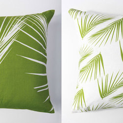 Kaypee Soh - Palm Pillow - Lime Green - Inspired by the sunny, swaying palms of the tropics, this all time classic motif draws on feelings of relaxation and tropical bliss. 100% LinenHidden red zipper closureFeather/down hypoallergenic insertHandmade in USA�