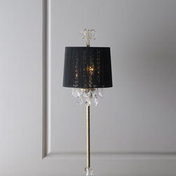 Horchow - Christella Buffet Lamp - Elegant buffet lamp adds a lovely accent anywhere you need a little extra dazzle. Each handcrafted lamp has a hand-painted gold-leaf finish on its resin and metal base and sparkles with cut-crystal drops in various sizes. A black polyester string shade....