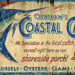 Red Horse Signs - Vintage Beach Signs oastal Caf? - Personalize  this  Coastal  Cafe  vintage  sign  with  your  own  name  in  place  of  Crenshaw's  for  a  unique  addition  to  your  rustic  summer  cabin  lake  home  or  beach  house.  Specially  printed  directly  to  distressed  wood  for  a  weathered  appearance  this  sign  measures  14  x  26.