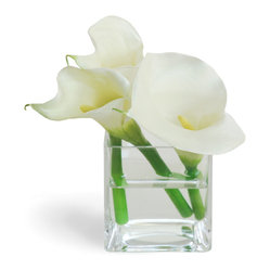 Winward Designs - Calla Lily In Glass White Flower Arrangement - Is any flower more elegant than the calla lily? With its long stalk and bell-shaped flower, the calla lily wows.