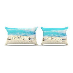 """Kess InHouse - Monika Strigel """"Summer at the Beach"""" Blue Coastal Pillow Case, Standard (30"""" x 2 - This pillowcase, is just as bunny soft as the Kess InHouse duvet. It's made of microfiber velvety fleece. This machine washable fleece pillow case is the perfect accent to any duvet. Be your Bed's Curator."""